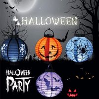 LED Round Hanging Paper Lantern, Halloween Props Pumpkin Bat Spider Light For Home Yard Party Holiday Lighting Decor Purple/0-5W