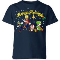 Nintendo Super Mario Good Guys Happy Holidays Kid's Christmas T-Shirt - Navy - 3-4 Years - Navy